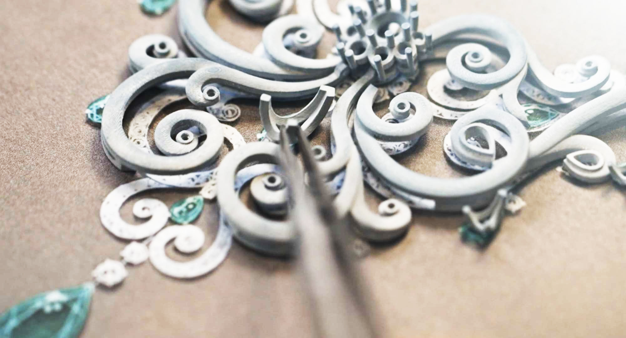 Close up view of personalized Faberge jewellery being made