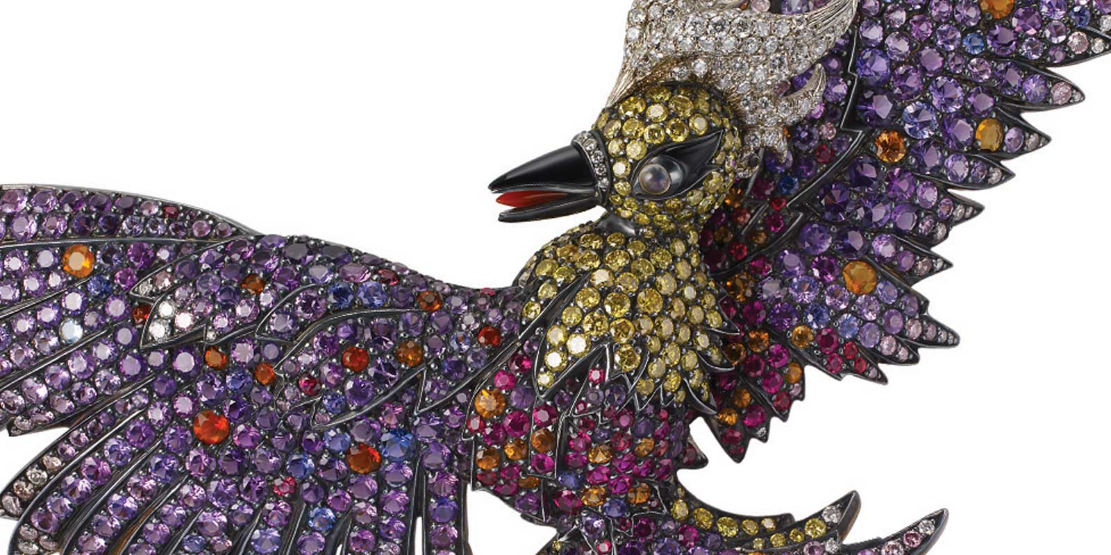 Jewelled brooch with multi-coloured gemstones shaped like a flying bird
