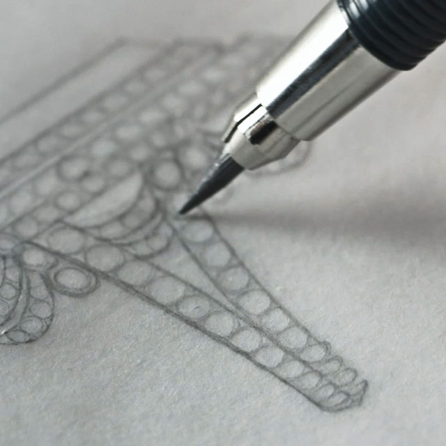 Close up view of pencil drawing Faberge jewellery design