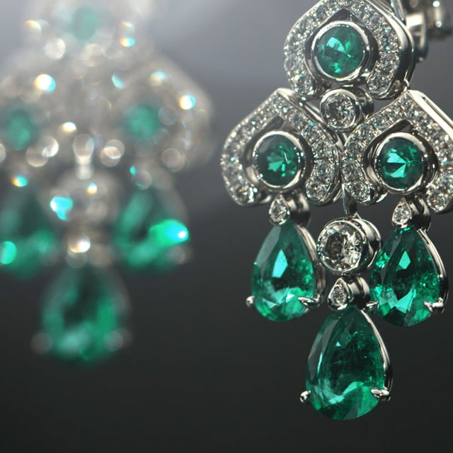 Faberge chandelier earrings with green emeralds and white diamonds