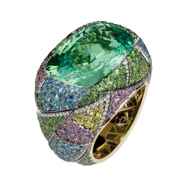 multi-coloured gemstones ring with green centre stone