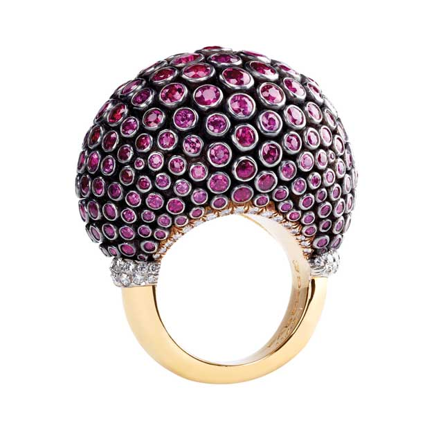Faberge ring with purple sapphire, black enamel, white diamonds, set in yellow gold