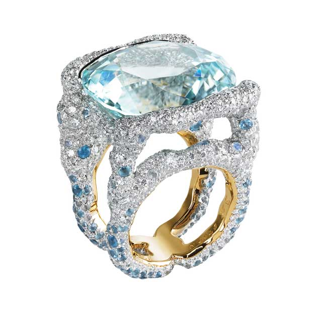 Multi-coloured gemstones ring with white diamonds, blue sapphires and center gemstone