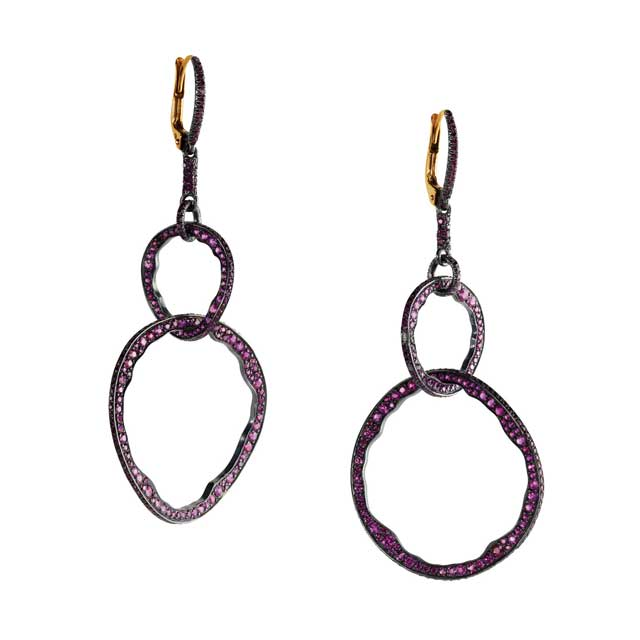 multi-coloured gemstones hoop drop earrings