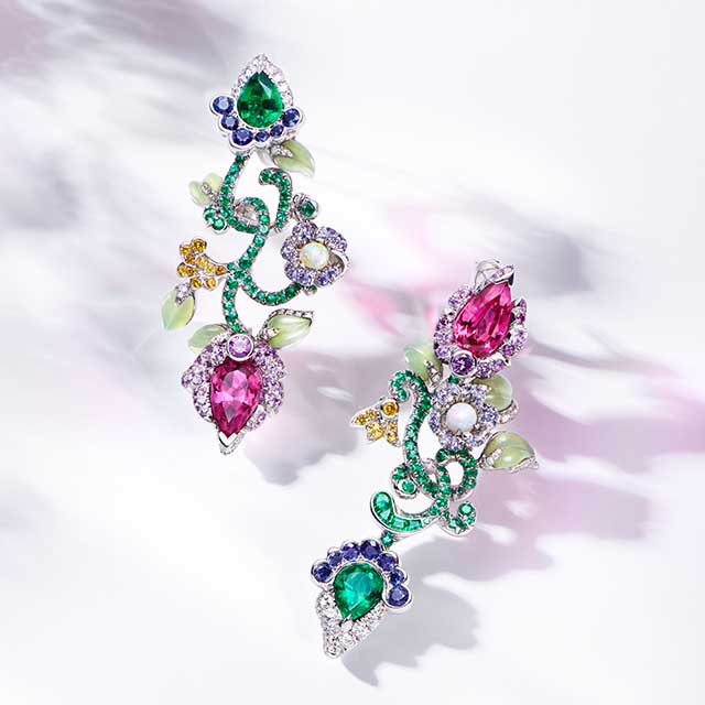 Image of Faberge jewellery with multi-coloured gemstones resembling blossoming flowers