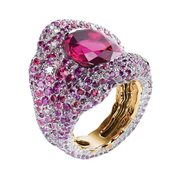 multi-coloured gemstone ring with white diamonds, pink and purple sapphires, with centre gemstone