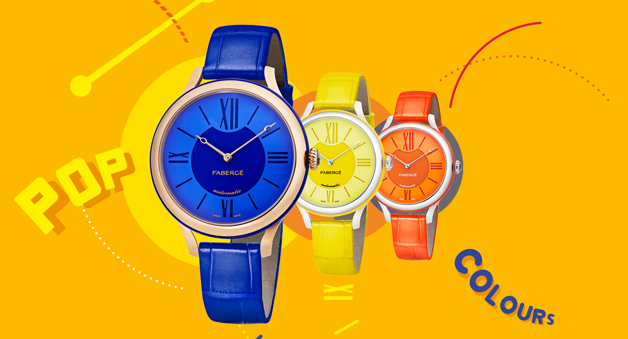 Three watches from Fabergé Flirt Collection. One blue watch, one yellow watch, one orange watch.