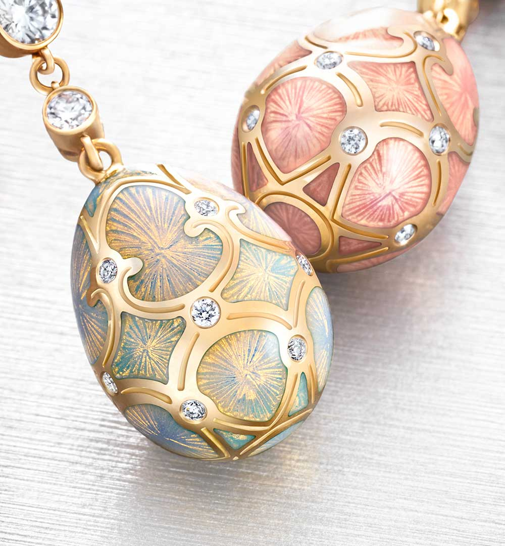 Two Fabergé egg pendants from the heritage collection: Palais Tsarskoye Selo turquoise Pendant, Palais Tsarskoye Selo Rose Gold Pendant.