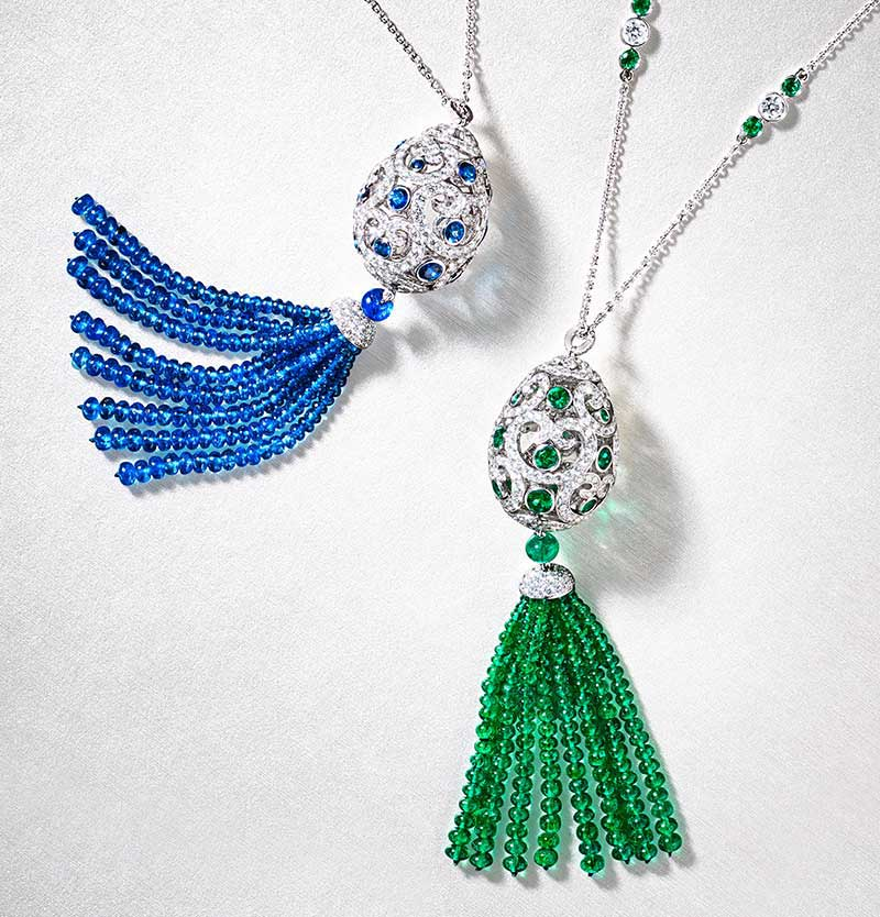 Two tassel pendants from the Imperial Collection: blue sapphire and white diamond tassel pendant. Green emerald and white diamond tassel pendant.