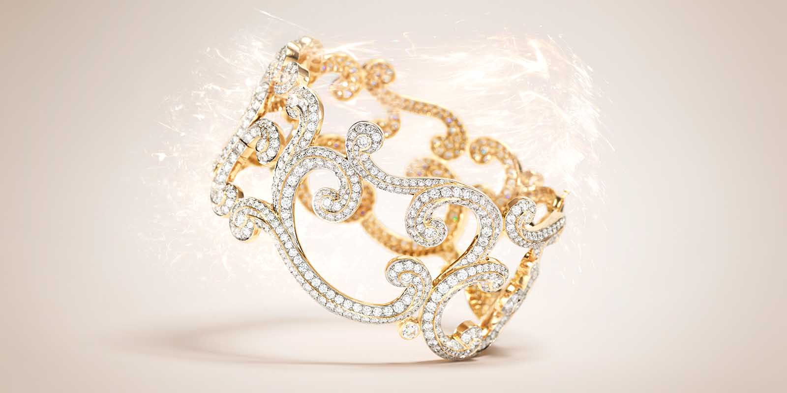 Lace diamond rose gold bangle from the Rococo Collection