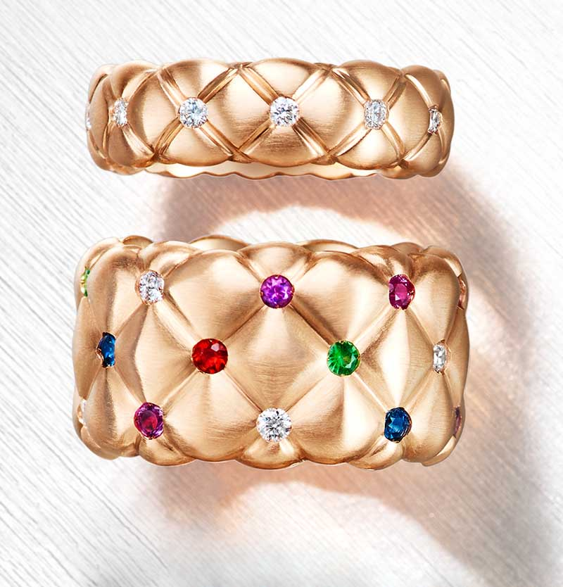 Two rings from the Treillage Collection: Diamond rose gold thin ring. Multi-coloured gemstones matt rose gold wide ring