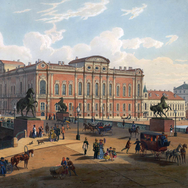 Coloured drawing of the view of the Beloseksky-Belozersky Palace, St. Petersburg, by J M Charlemagne, 1850s