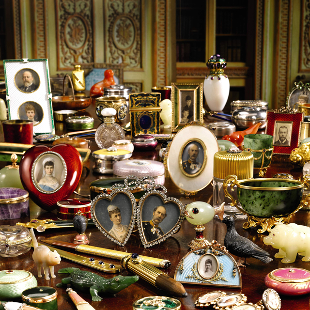 Assortment of Fabergé antique pieces sitting on a table. In November 2008, Sotheby's offered pieces of Fabergé, as well as other objets de luxe. Many of the 100 pieces were given to Thyra, Princess of Denmark, by her siblings, all of whom were Fabergé aficionados. The sale realised a total of £1.95 million. Image courtesy of Southeby's