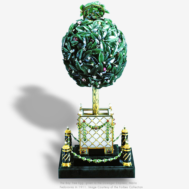 The Bay Tree Egg, given to the Dowager Empress, Maria Fedorovna in 1911. Image courtesy of the Forbes Collection.""