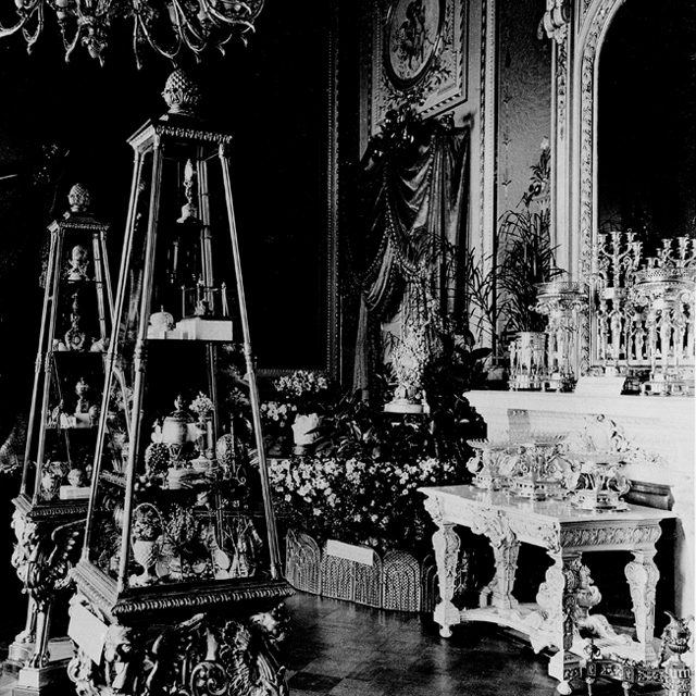 Old photograph of Fabergé Imperial Eggs. It's possible to identify the Imperial Eggs in the cabinets. This helped to confirm that the gold egg bought by an American in the mid-west for it's $14,000 scrap value, was indeed a Fabergé Imperial Egg