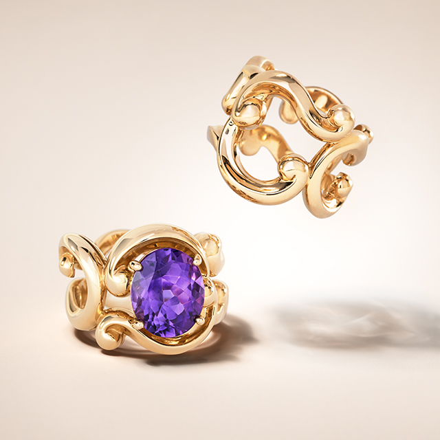 Two rose gold rings from the Fabergé Rococo collection.