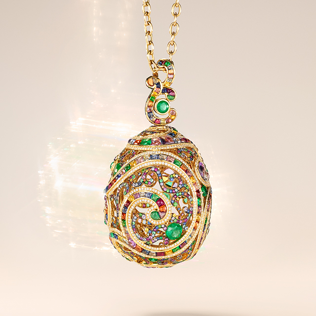 Multi-coloured gemstones Fabergé egg pendant from the Fabergé Rococo collection.