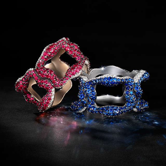 Two rings from the emotion collection. One red ruby ring, one blue sapphire ring.