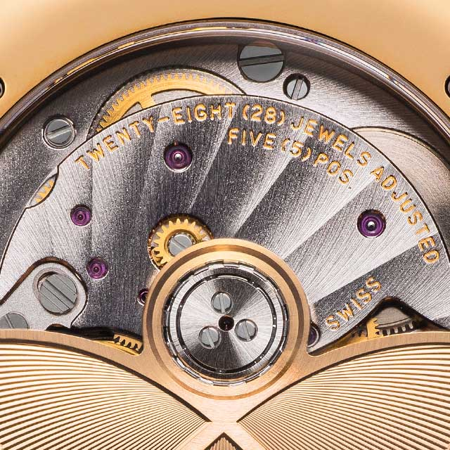 Close up view of the Internal mechanics of a timepiece from the Fabergé Flirt Collection.