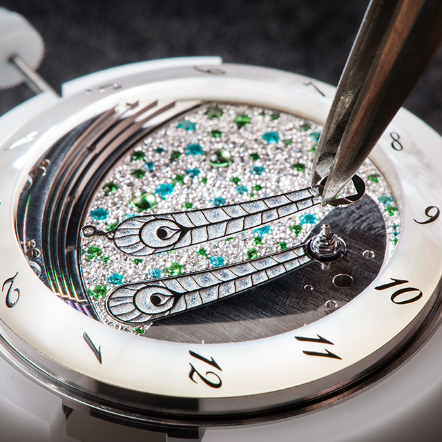 Close up view of a timepiece being made from the Fabergé Lady Compliquee Collection