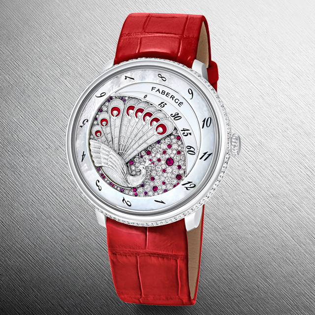 Lady Compliquee Peacock Ruby timepiece from the Fabergé Lady Compliquee Collection.