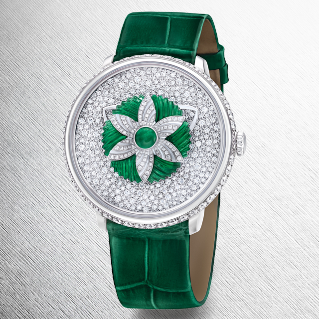 Close up view of the Fabergé Lady Libertine II Timepiece with green alligator from the Fabergé Dalliance Collection.
