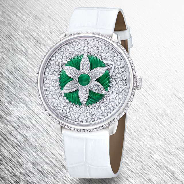 Fabergé Lady Libertine II Timepiece with white alligator strap from the Fabergé Dalliance Collection.