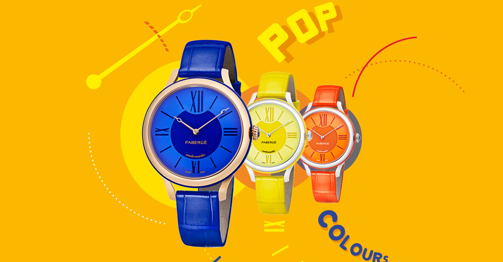Colourful drawings of three timepieces from the Fabergé Flirt Collection. One blue timepiece, one yellow timepiece, one orange timepiece.