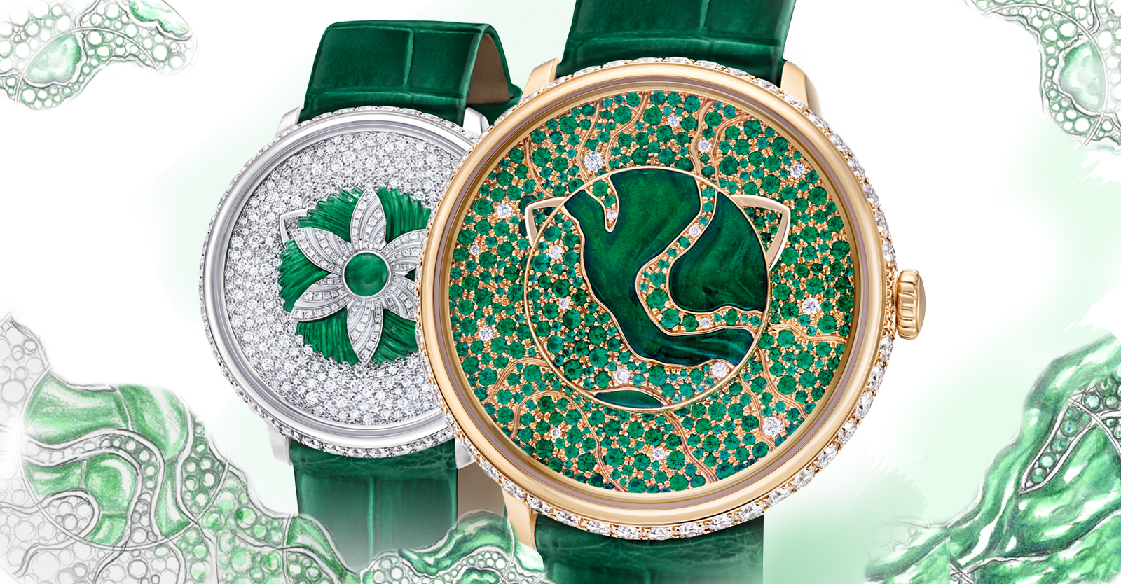 Two lady's timepieces from the Fabergé Dalliance Collection. Watch on left is the Fabergé Lady Libertine II Timepiece. Watch on right is the Fabergé Lady Libertine I Timepiece.