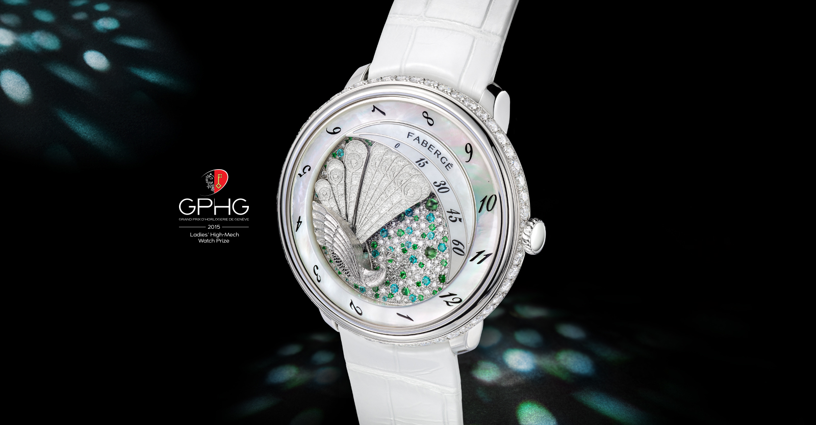 Lady Compliquee Peacock timepiece from the Fabergé Lady Compliquee Collection with multi-coloured gemstones and alligator strap.