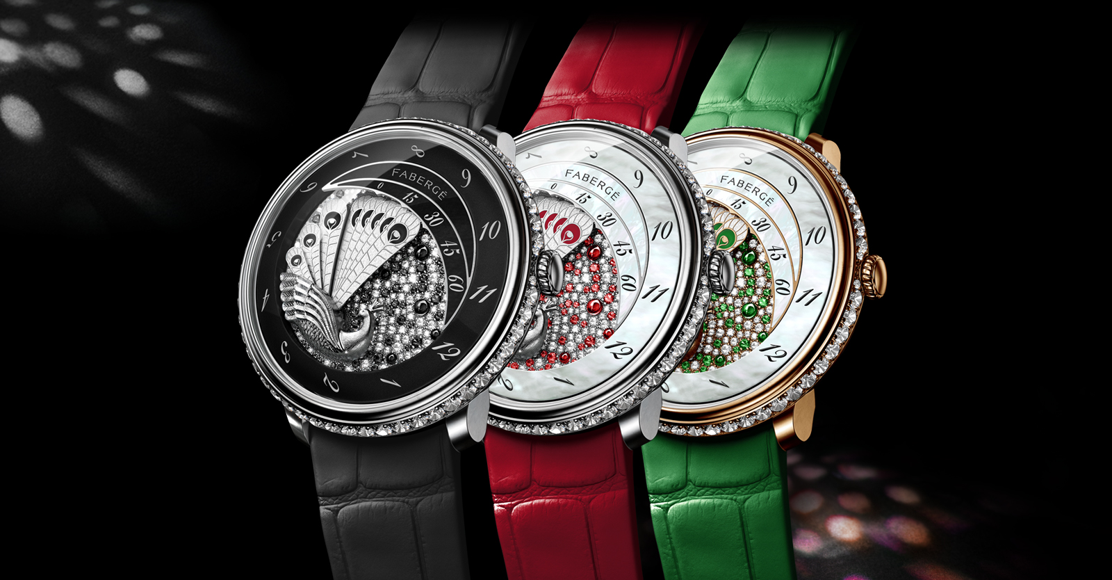 Three watches from the Fabergé Lady Compliquee Collection. One with black strap, one with red strap, one with green strap.