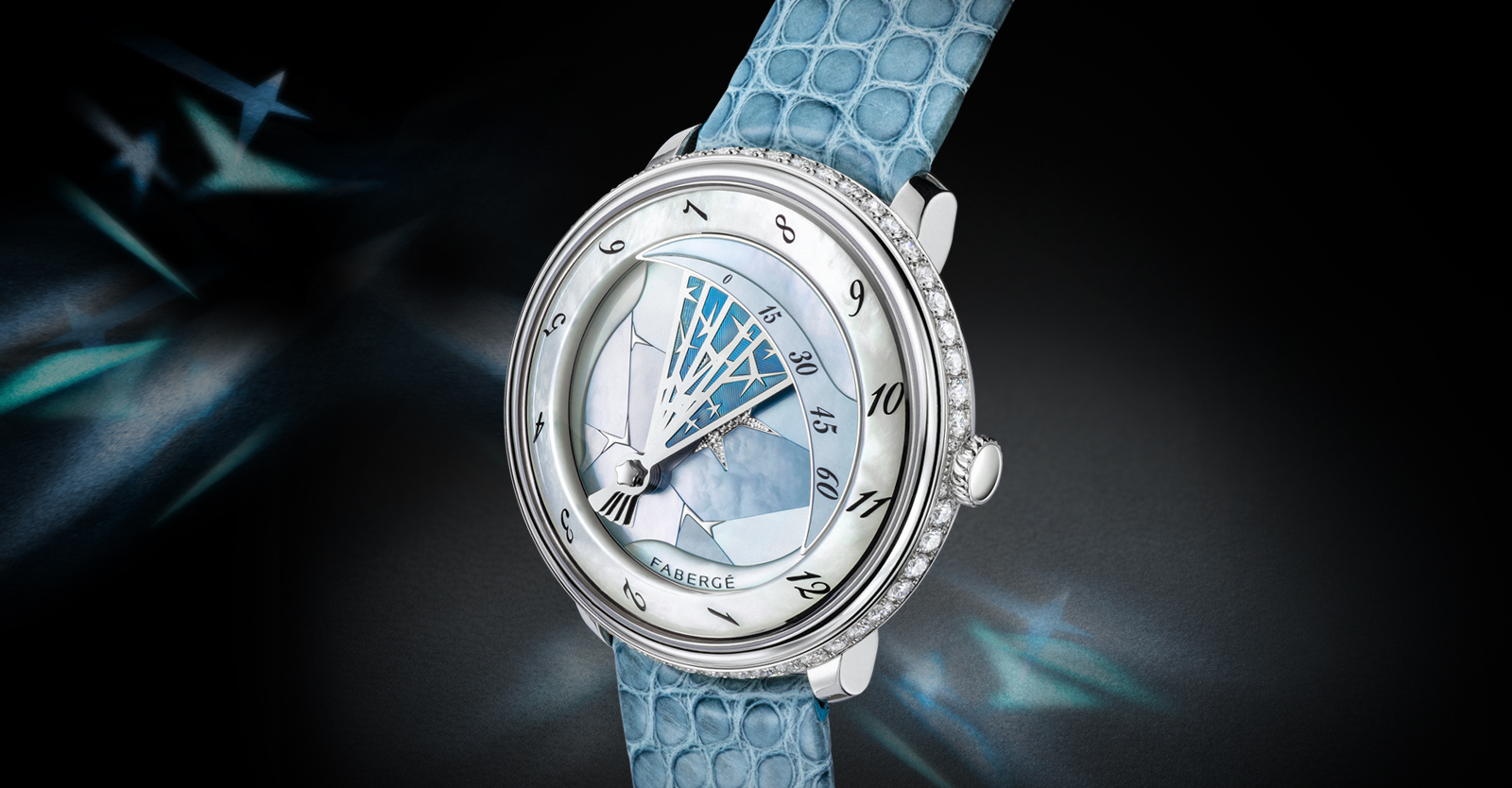 Fabergé Lady Compliquee Winter timepiece with white mother-of-pearl, diamonds and alligator strap.