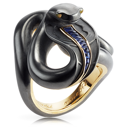 Gold Sapphire Opal Ring - Fabergé Black Sea Serpent Ring