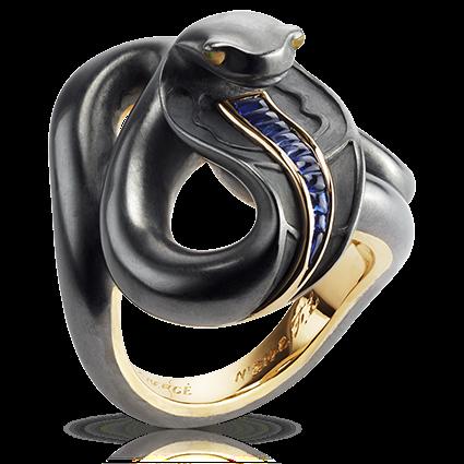 Black Sea Serpent Gold Opal & Sapphire Ring | Fabergé