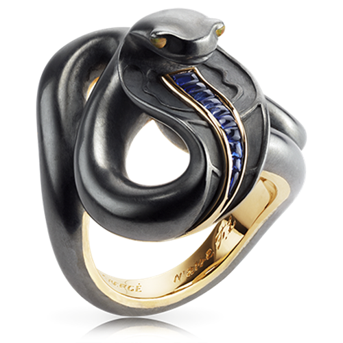 18K Gold Black Sea Serpent Ring With Blue Sapphires & Opals