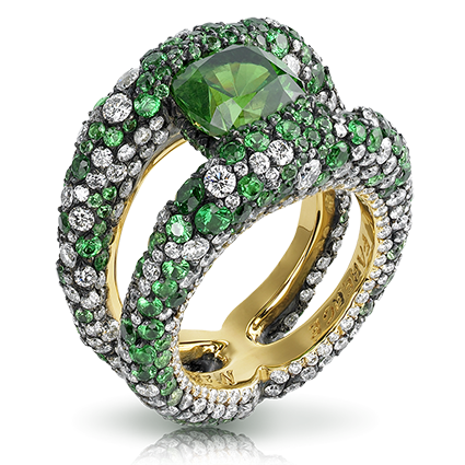 Diamond Demantoid Ring - Fabergé Charmeuse Verte Ring