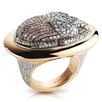 Fabergé Diamond Scarab Ring – features 588 stones, including round pink, grey-blue and black diamonds, round white diamonds, set in 18kt rose gold and sterling silver shaped like a beetle.