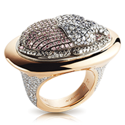 Scarab Beetle Rose Gold Diamond Ring | Fabergé
