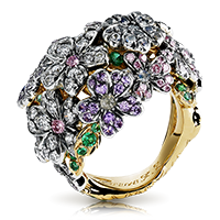 Fabergé Forget Me Not Ring – featuring flower shapes with round blue and pink diamonds, round emeralds, round white diamonds, round violet sapphires, round alexandrites, moonstones, and fire opals set in 18kt gold and sterling silver.