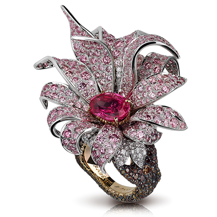 Platinum, Rose Gold, Pink Sapphire & Diamond Ring | Fabergé