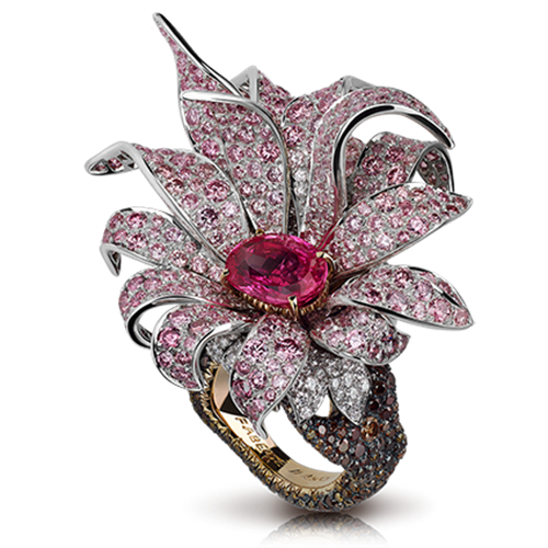 Magnolia Platinum & 18K Gold Pink Sapphire Flower Ring With White, Pink & Brown Diamonds