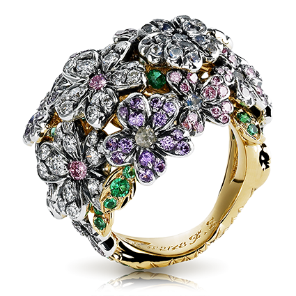 Forget Me Not Yellow Gold, Silver, Diamond & Multicoloured Gemstone Ring | Fabergé