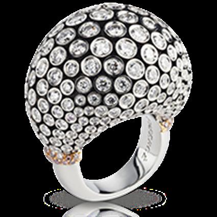 Platinum & Gold Diamond Cluster Statement Ring   Fabergé