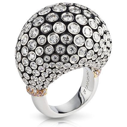 Platinum & Gold Diamond Cluster Statement Ring | Fabergé