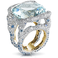 Fabergé Katharina Aqua Ring – features 1,041 stones, including 1 cushion blue tourmaline (39.09cts), moonstones, white diamonds, and aquamarines set in 18kt yellow and white gold palladium.