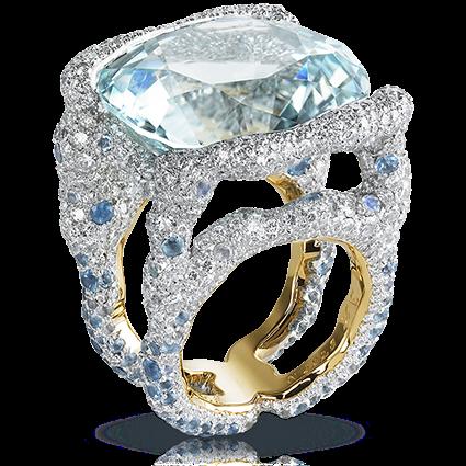 Gold Blue Tourmaline, Diamond & Multicoloured Gemstone Ring   Fabergé