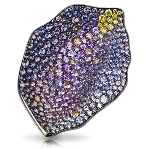Fabergé Purple Rose Petal Pendant – features 345 stones, including white diamonds, blue, violet, pink and padparadscha sapphires, pink diamonds, yellow diamonds, set in 18kt gold and sterling silver shaped like a rose petal.