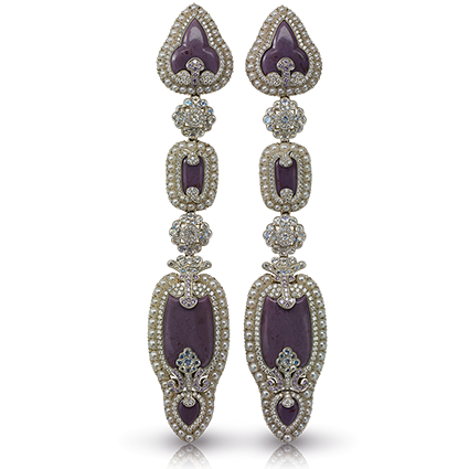 Fabergé Scheherazade Long Earrings – features lilac jasper, round white diamonds, moonstones, white pearls, and round pink diamonds set in 18kt gold and sterling silver.
