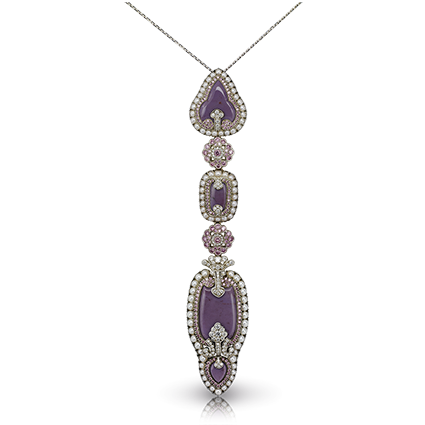 Fabergé Scheherazade Long Pendant – features 323 stones, including lilac jasper, pink diamonds, white diamonds, and white pearls set in 18kt gold and sterling silver.