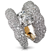 Tatiana diamond ring - set in 18 carat pink gold and silver, featuring 646 white diamonds and tsavorites totalling 7.55 carats. The centre stone is a demantoid of 3.43 carats
